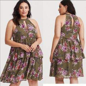 TORRID Olive Floral Tiered Ruffle Sleeveless Dress